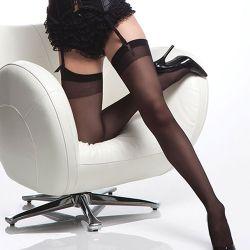 Sheer Thigh Hi w/ Back Seam - Black - OS/XL