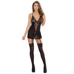 Sheer Stretch Lace Chemise with Garters and Stockings - Black One Size