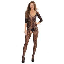 Crotchless Lace Print Seamless Stretch Body Stocking - Black One Size