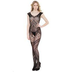 Crotchless Patchwork Seamless Stretch Body Stocking - Black One Size