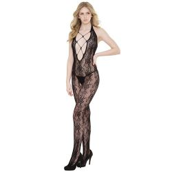 Crotchless Halter Lace Seamless Stretch Body Stocking - Black One Size