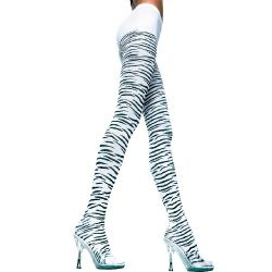 Opaque Zebra Design Pantyhose - Black/White - O/S