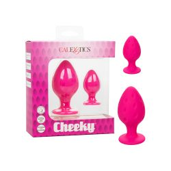 Cheeky Textured Silicone Butt Plugs - Pink