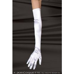 Satin Lycra Gloves -White CQ-1705-O/SWT