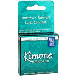 Kimono Micro Thin Condoms - 3 pk (Ultra Lubricated with Aqua Lube)