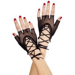 Fishnet Gloves with Lace Up Ties - Black - O/S