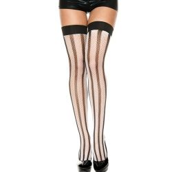 Vertical Stripes Thigh Hi - Black/White - O/S