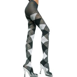 Opaque Big Argyle Pattern Pantyhose - Black/Grey - O/S