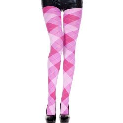Opaque Big Argyle Pattern Pantyhose - Pink/Fuschia - O/S