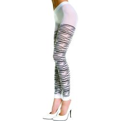 Opaque Footless Zebra Design Panthose - Black/White - O/S