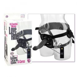 10 Function Silicone Love Rider - G-Caress - Strap On Harness Kit - Black